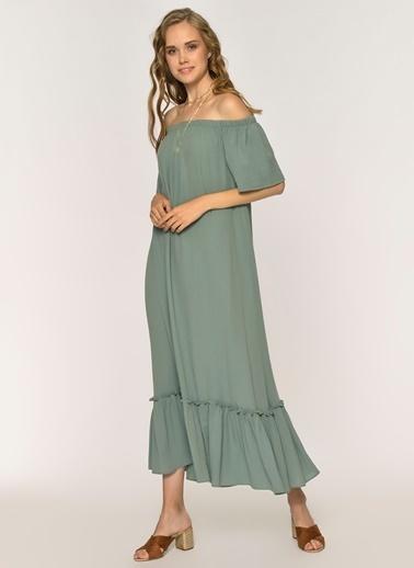 Loves You Carmen Yaka Krinkıl Vual Elbise Yeşil